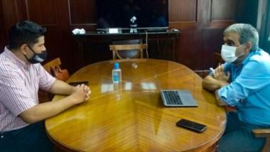 El secretario de Trabajo Ayala durante las gestiones ante el Ministerio de Desarrollo Productivo de Nación.