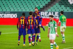 Messi ingresó en el segundo tiempo y a los dos minutos marcó el empate para encaminar el triunfo del Culé.