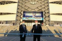 El gobernador recibe a Fernández antes de dar inicio a la obra hídrica del Nuevo Canal de la Patria e inaugurar el Estadio Único