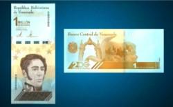 Venezuela lanza billetes de un millón de bolívares, que equivale a menos de un dólar.