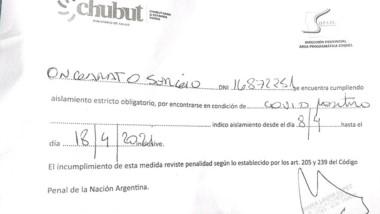 El certificado que confirma el Covid Positivo del intendente de Esquel.