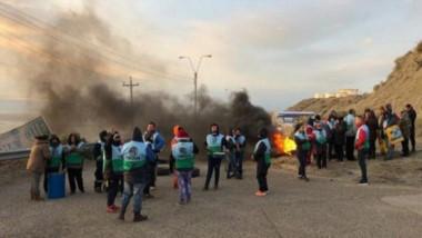 Corte. Una postal de lo que sucedía aquella mañana de septiembre de 2019, cuando una protesta salarial bloqueó la Playa de Tanques de YPF.