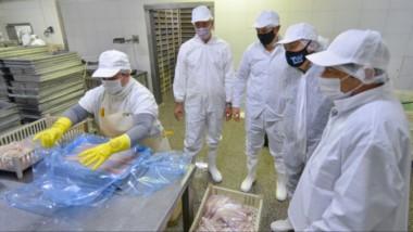 De blanco. La comitiva que visitó la pesquera y que tuvo reclamos para la política pesquera en Chubut.
