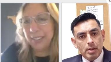 La jueza María Tolomei y el funcionario fiscal Leonardo Cheuqueman.
