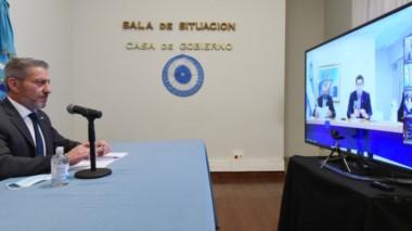 La videconferencia en la que el gobernador Arcioni participó con el presidente para evaluar las nuevas restricciones por la pandemia.