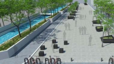 El boceto de la obra. Así luce  enel proyecto presentado la futura peatonal de Dolavon.