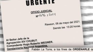 El facsímil con la orden judicial que elevó Lleral a la Gendarmería.