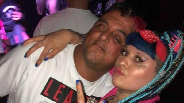 "La Chabona junto a su novio, Kiko ""vamo´ Newell's ""."
