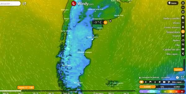 La ola polar en el mapa de Argentina, cubre toda la Patagonia. (Windy.com)