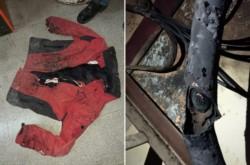 Una campera con signos de quemaduras y el cable cortado. Estiman que quien lo hizo sufrió quemaduras severas.