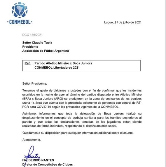 La Conmebol le aseguró a la AFA que Boca no rompió la burbuja sanitaria.