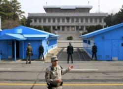 La línea fronteriza entre las dos Coreas, siempre fuertemente custodiada.