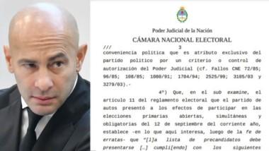 Massoni será candidato. Facsímil del fallo de ayer por parte de la Cámara Nacional Electoral.