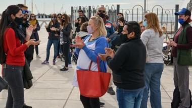 Marcha. ATECh tuvo su primer día de paro con protestas en Madryn.