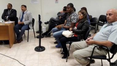 Acusados. Primero a la derecha, el excomisario Pulley junto a la pareja imputada por el VIP en Comodoro.