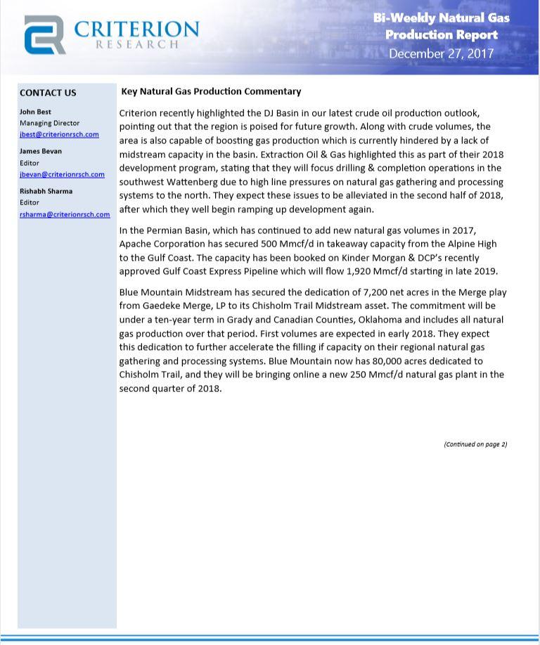 Biweekly Natural Gas Upstream Production Highlights
