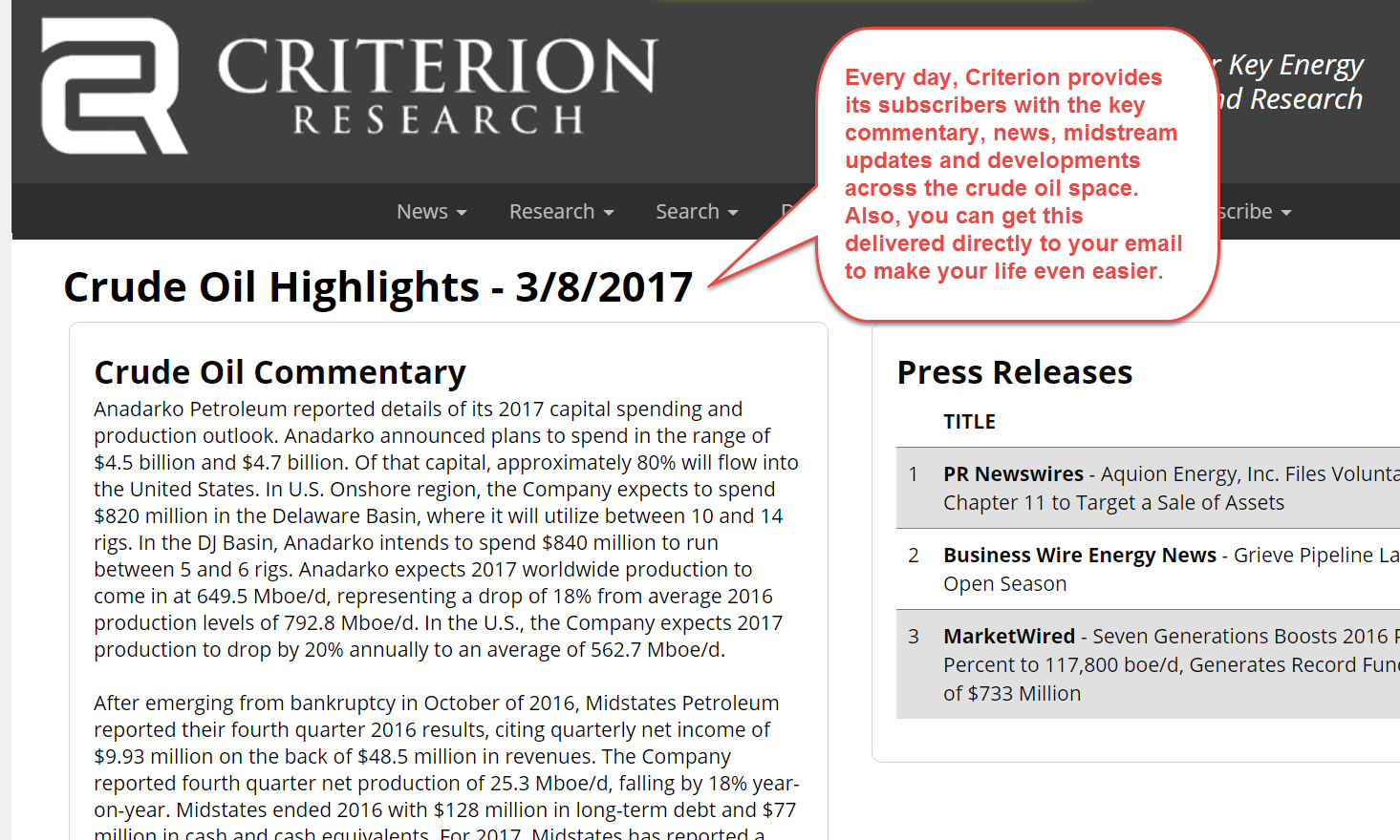 Criterion's Crude Oil Daily Highlights.  Key information, easily accessible.