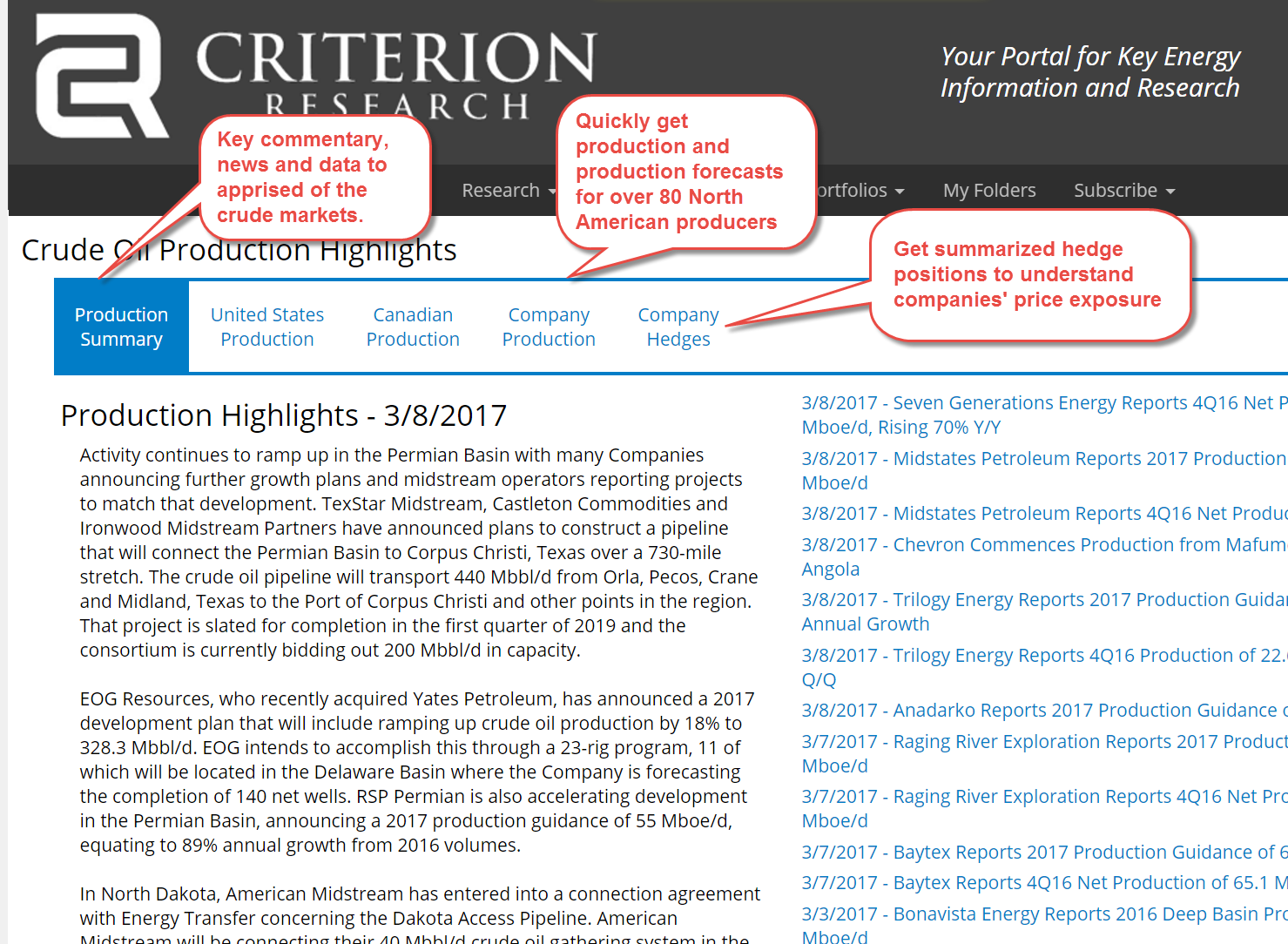Criterion's Natural Gas Flows.  Key information, easily accessible.
