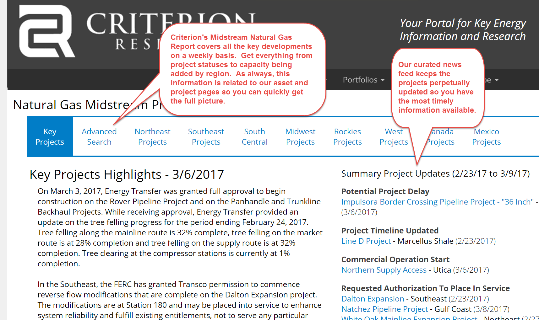 Criterion's Natural Gas Midstream Analysis.  Key information, easily accessible.