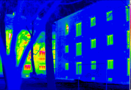 Passivhaus thermogram gedaemmt ungedaemmt
