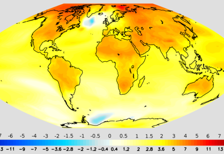Projected change in annual mean surface air temperature from the late 20th century to the middle 21st century  based on sres emissions scenario a1b