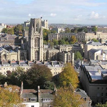 Bristol university from cabot tower