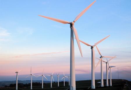 Sunset at royd moor wind farm