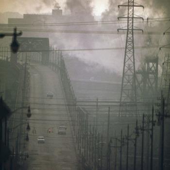 Dark clouds of factory smoke obscure clark avenue bridge   nara   550179