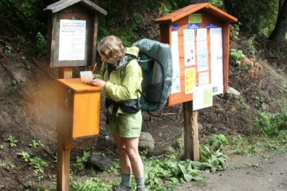 Signing in at the trailhead