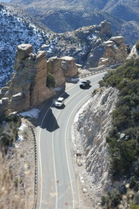 Driving up Mt Lemmon