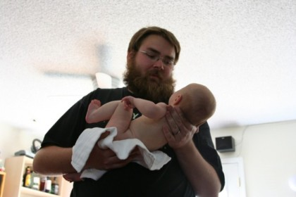 Naked baby attack