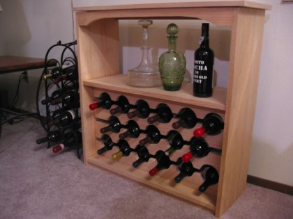 Wine rack, assembled but unstained