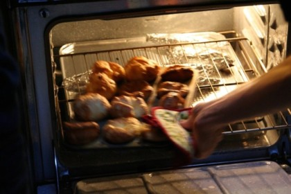 Yorkshire puddings coming out of the oven