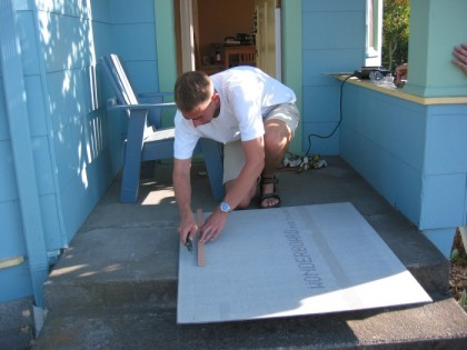 Cutting cement board to size