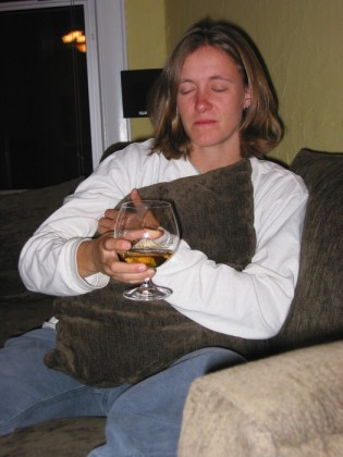 Spike enjoying a bit of scotch at my housewarming party