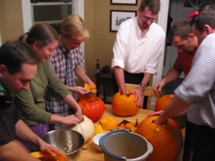 Pumpkin guts going everywhere