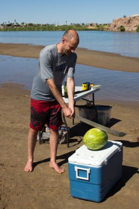 Watermellon slicing demonstration