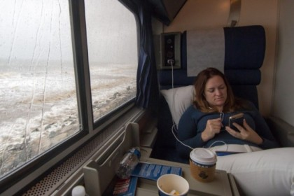 Our room on the train, in the rain