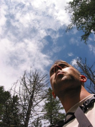 Me looking scruffy and some blue sky
