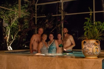 Enjoying the rejuvenated hot tub