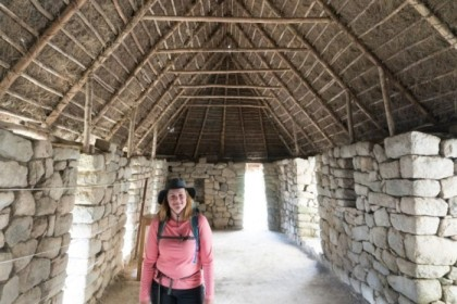 Inside a reconstructed roof