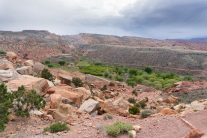 Through the canyon, looking down on Fruita Campground