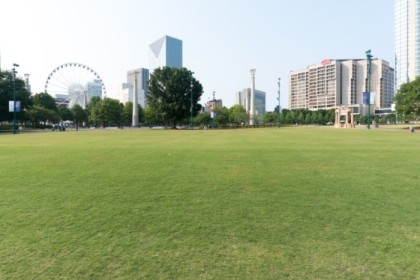 Well manicured lawn at Centennial Olympic Park