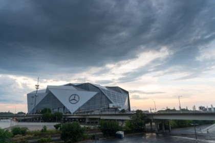 Ominous looking stadium after the rain