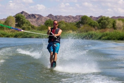 Navigating the sand bars from the ski