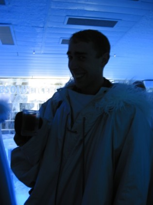 Me at the Ice Bar wearing the supplied 1970s Sci-Fi outfit