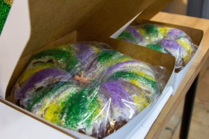 King cake in all its sugared glory