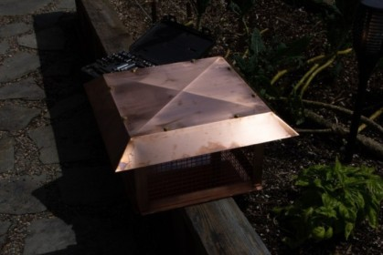 Chimney cap about to be installed