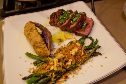 Another rib eye, Okinawa yam, and asparagus