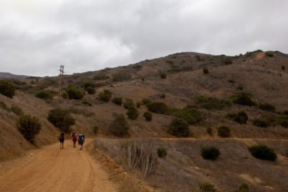 Trudging down the trail, thankful for the overcast skies
